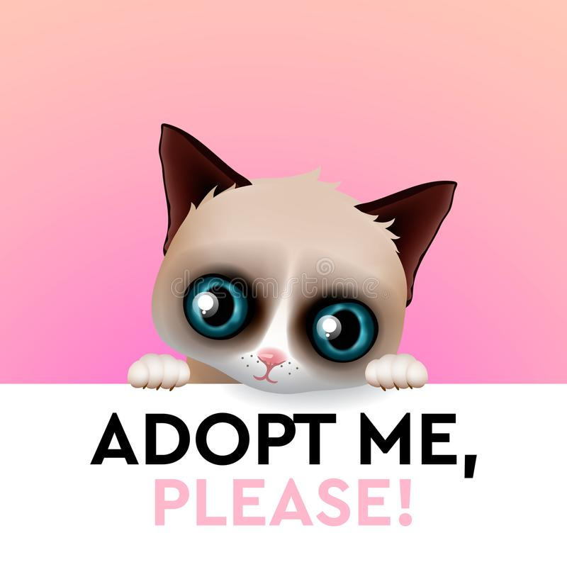 Adopt me, cute cartoon character, help animal concept, pet adoption, vector image. vector illustration