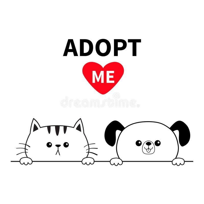 Adopt me Dog Cat face head. Hands paw holding line. Pet adoption. Help homeless animal Cute cartoon puppy kitten character. Funny stock illustration