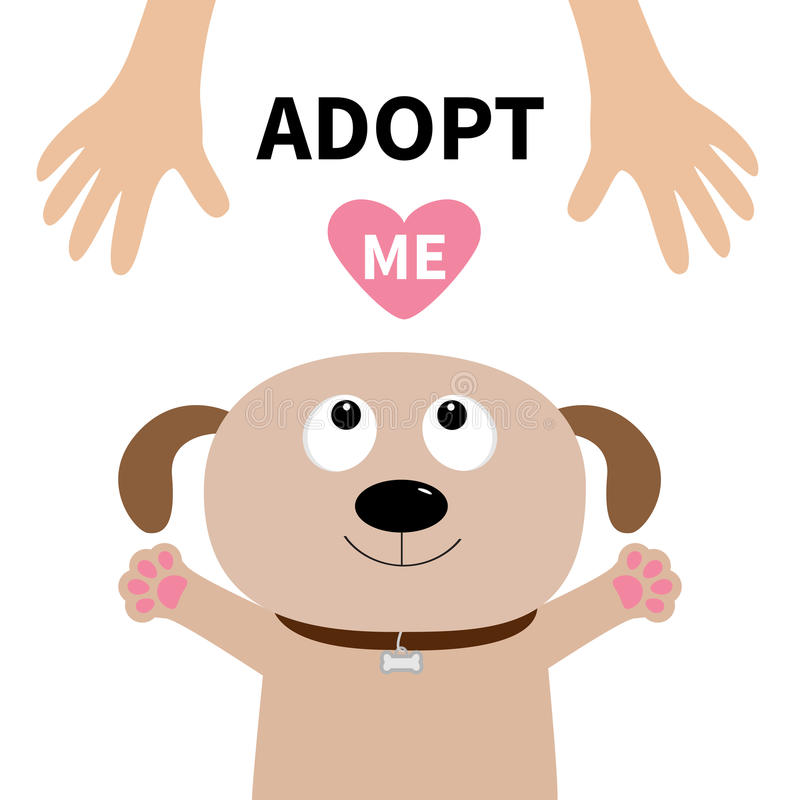 Adopt me. Dog face. Pet adoption. Puppy pooch looking up to human hand. Paw print hug. Flat design. Help homeless animal concept. Cute cartoon character. White royalty free illustration