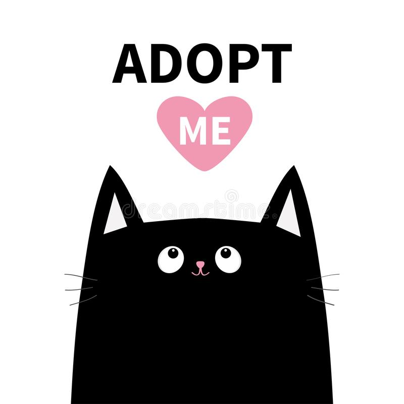 Adopt me. Dont buy. Black cat face head silhouette. Pink heart. Pet adoption. Kawaii animal. Cute cartoon kitty character. Funny b stock illustration