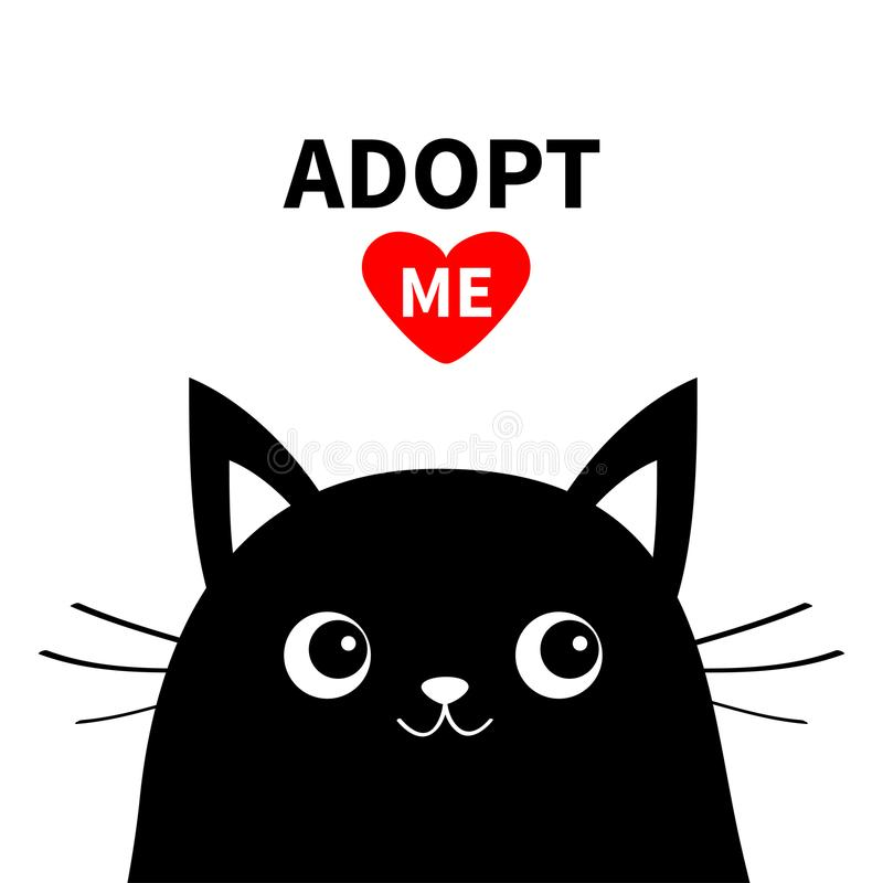 Adopt me. Dont buy. Black cat face silhouette. Red heart. Pet adoption. Kawaii animal. Cute cartoon kitty character. Funny baby ki stock illustration