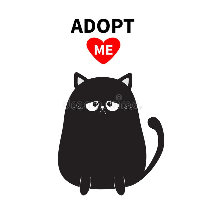 Adopt me. Dont buy. Black sitting sad cat silhouette. Red heart. Pet adoption. Kawaii animal. Cute cartoon kitty character. Funny stock illustration