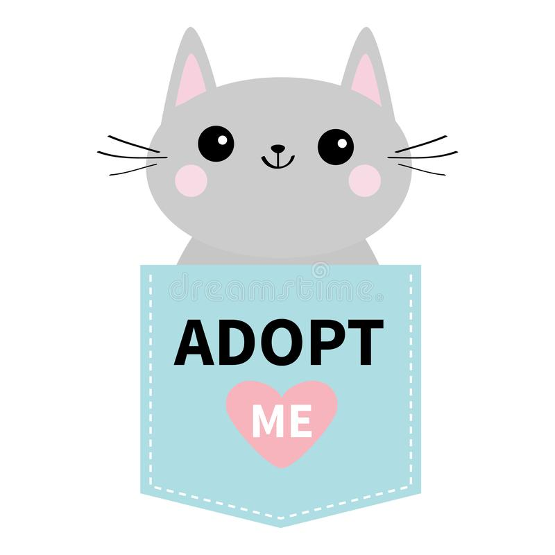 Adopt me. Dont buy. Cat in blue pocket. Pet adoption. Kitten kitty. Pink heart. Flat design. Help homeless animal concept. White b. Ackground. Isolated. Vector royalty free illustration