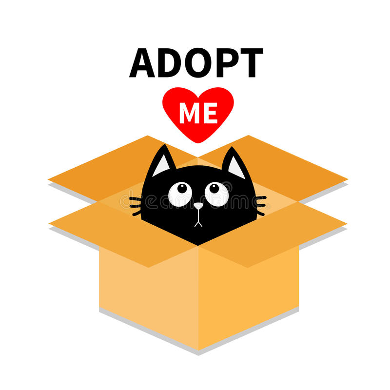 Adopt me. Dont buy. Cat inside opened cardboard package box. Pet adoption. Kitten looking up to red heart. Flat design style. Help stock illustration