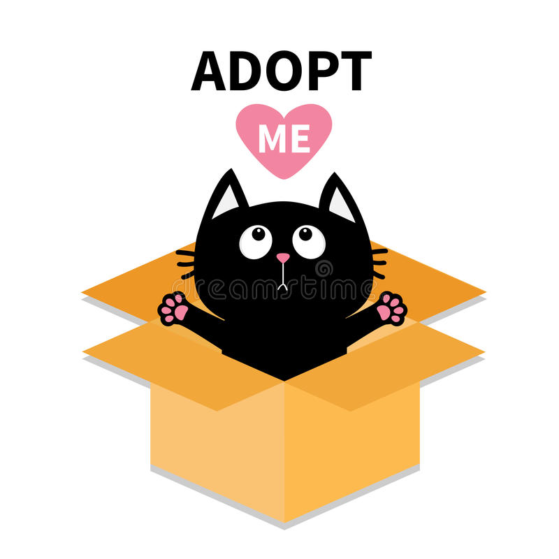 Adopt me. Dont buy. Cat inside opened cardboard package box. Ready for a hugging. Kitten looking up to red heart. Pet adoption. Fl. At design. Help animal stock illustration