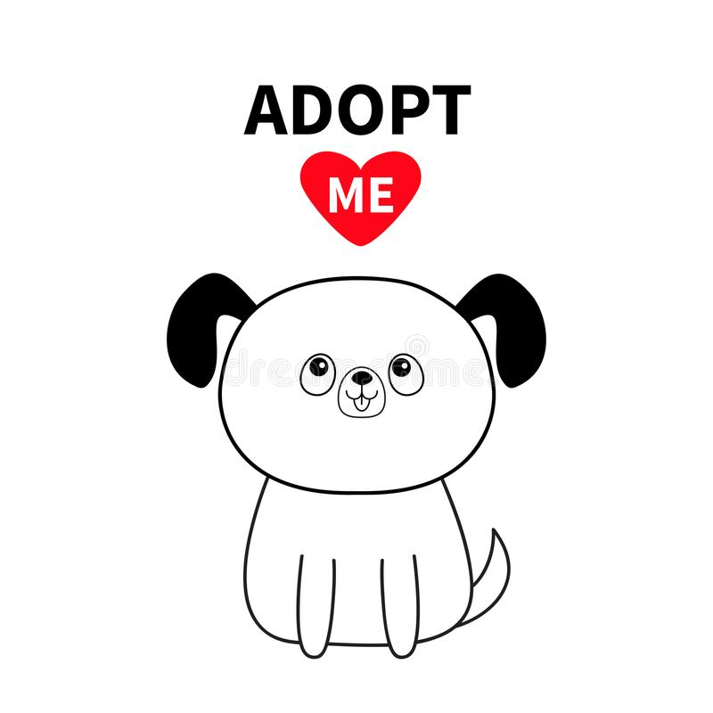 Adopt me. Dont buy. Contour sitting dog silhouette. Red heart. Pet adoption. Kawaii animal. Cute cartoon pooch character. Funny ba vector illustration