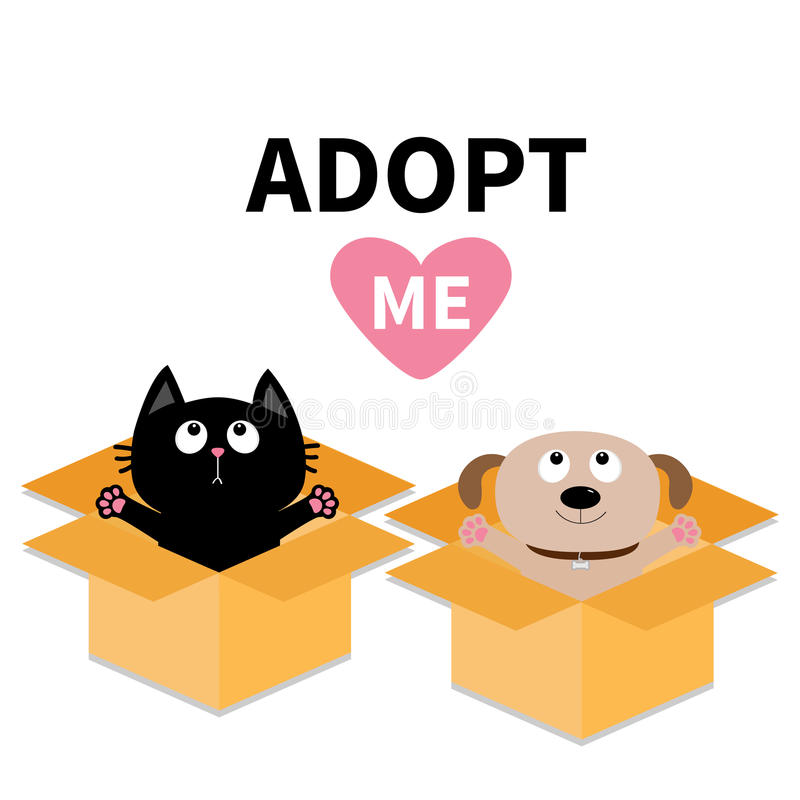 Adopt me. Dont buy. Dog Cat inside opened cardboard package box. Ready for a hug. Puppy pooch kitten cat looking up to pink heart. Pet adoption Flat design vector illustration