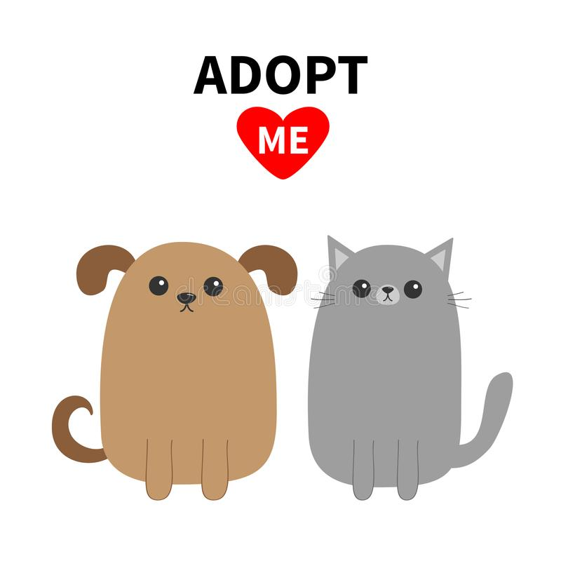 Adopt me. Dont buy. Dog Cat Pet adoption. Puppy pooch kitty cat. Red heart. royalty free illustration