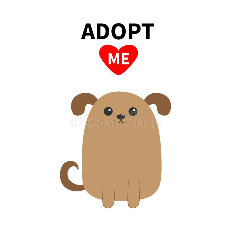 Adopt me. Dont buy. Dog face. Pet adoption. Puppy pooch. Red heart. Flat design style. Help homeless animal concept. Cute cartoon stock illustration