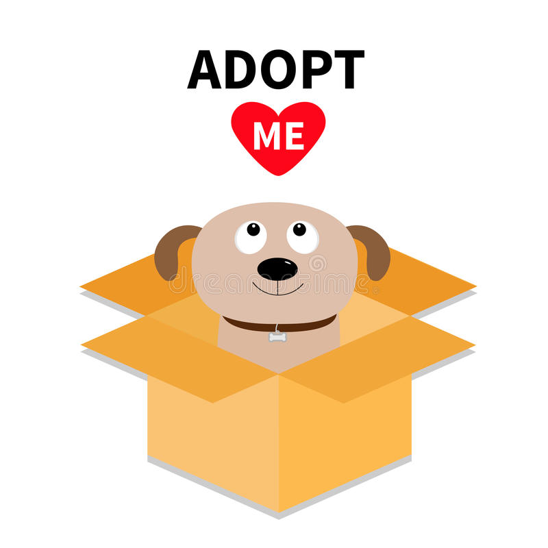 Adopt me. Dont buy. Dog inside opened cardboard package box. Pet adoption. Puppy pooch looking up to red heart. Flat design style. vector illustration