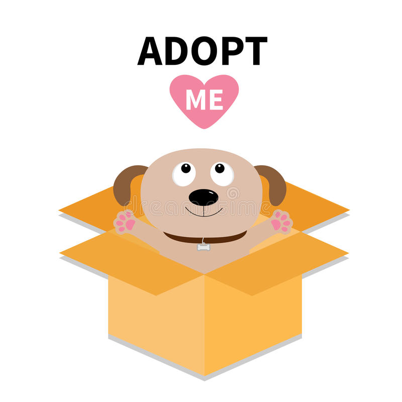 Adopt me. Dont buy. Dog inside opened cardboard package box. Ready for a hugging. Puppy pooch looking up to red heart. Pet adoptio. Adopt me. Dont buy. Cat vector illustration
