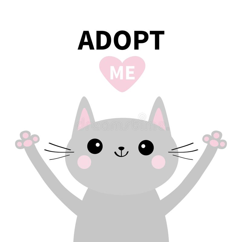 Adopt me. Dont buy. Gray cat silhouette. Hand hug. Pink heart. Pet adoption. Kawaii animal. Cute cartoon kitty character. Funny ba vector illustration