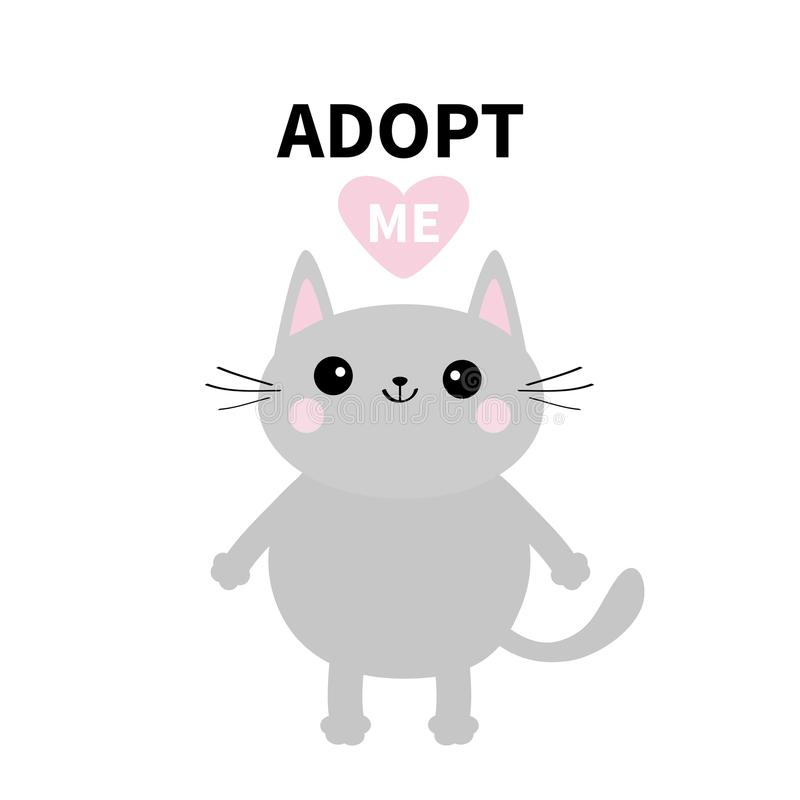 Adopt me. Dont buy. Gray cat standing. Pink heart. Pet adoption. Kawaii animal. Cute cartoon kitty character. Funny baby kitten. H stock illustration