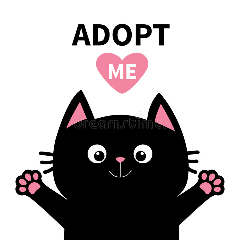 Adopt me. Dont buy. Pink heart. Black cat face head, paw print silhouette. Cute cartoon character. Help animal concept. Adopt me Dont buy. Pink heart Black cat vector illustration