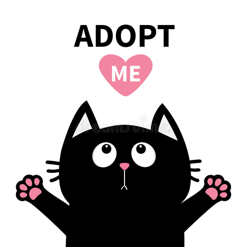 Adopt me. Dont buy. Pink heart. Black cat face head, paw print silhouette looking up. Cute cartoon character. Help animal concept. Adopt me Dont buy. Pink heart royalty free illustration