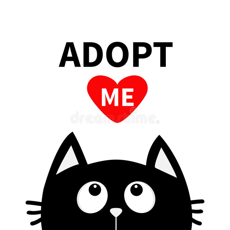 Adopt me. Dont buy. Red heart. Black cat face head silhouette looking up. Cute cartoon character. Help animal concept. Pet. Adoption. Flat design style. White vector illustration