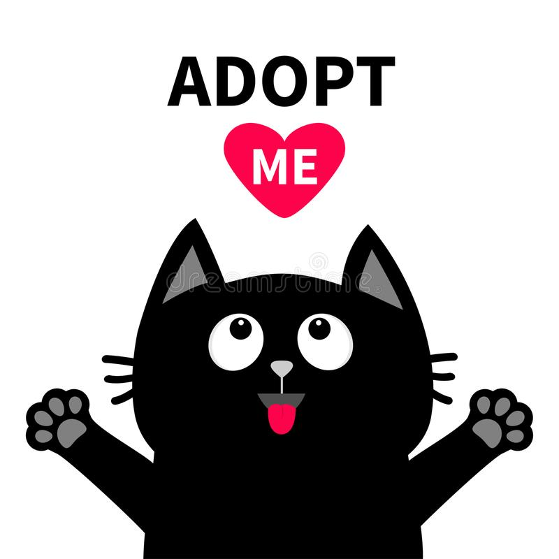 Adopt me Dont buy. Red heart Black cat face head, tongue paw print silhouette vector illustration