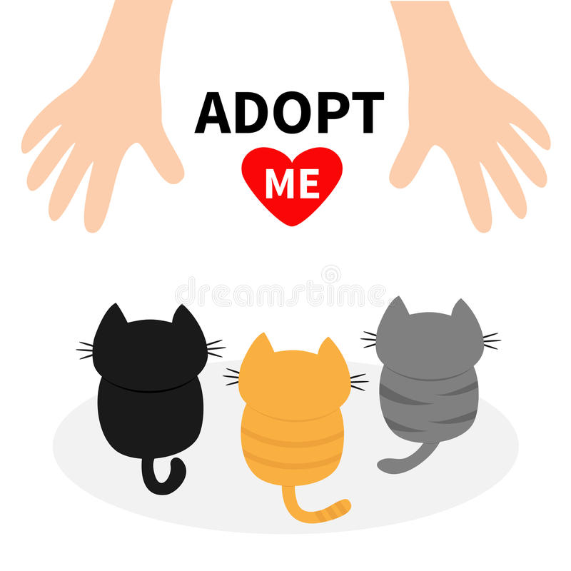 Adopt me. Three kittens looking up to human hand. Cute cartoon funny character. Animal hug. Helping hands concept. Red heart. Love stock illustration