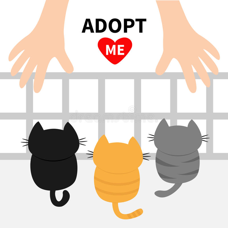Adopt me. Three kittens looking up to human hand. Nursery cage aviary. Cute cartoon funny character. Animal hug. Helping hands con royalty free illustration