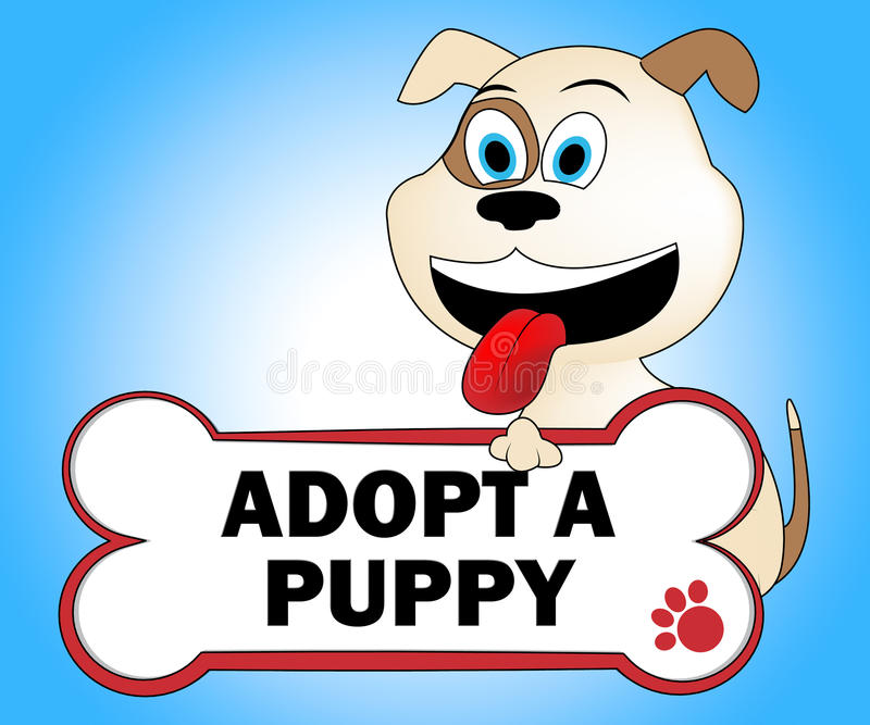 Adopt Puppy Shows Looking After Dog Pets. Adopt Puppy Meaning Puppies Pedigree And Looking After vector illustration