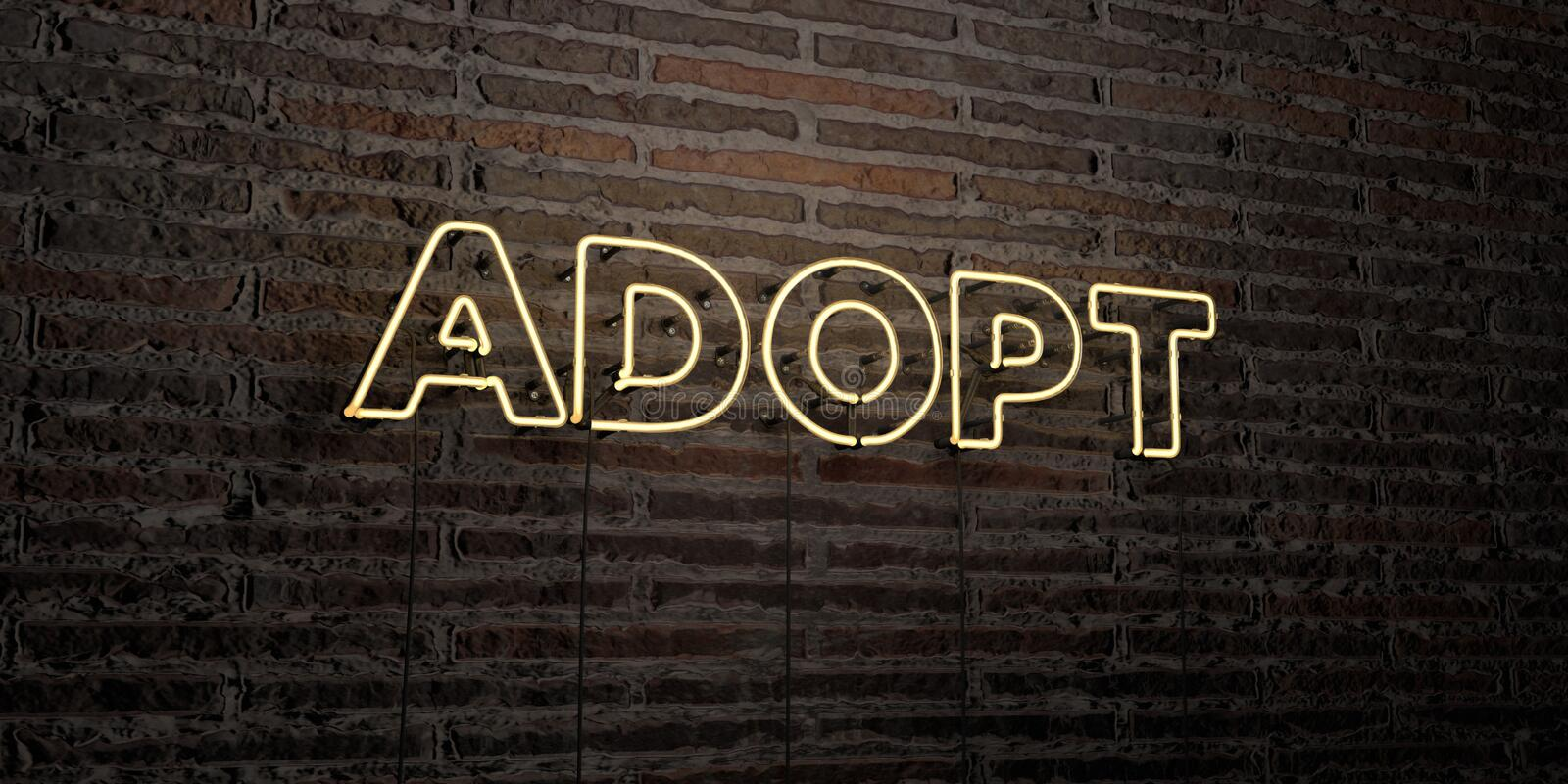 ADOPT -Realistic Neon Sign on Brick Wall background - 3D rendered royalty free stock image. Can be used for online banner ads and direct mailers royalty free illustration