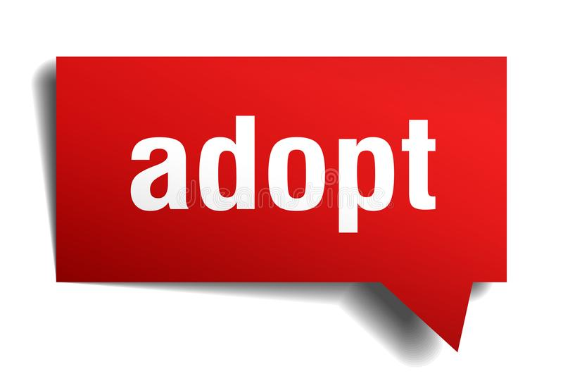 Adopt red 3d speech bubble. Adopt red 3d square isolated speech bubble stock illustration