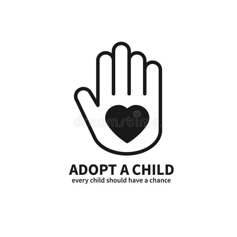 Adoptera ett barn Hand med hjärtalinjen symbol Tema för service för skydd för volontärhjälpomsorg Barnadoptiontecken och symbol vektor illustrationer