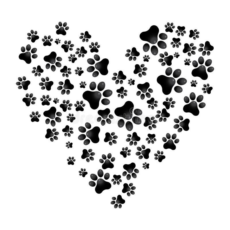 Adoptez l'illustration animale d'aide de vecteur de Paw Heart de chien illustration stock