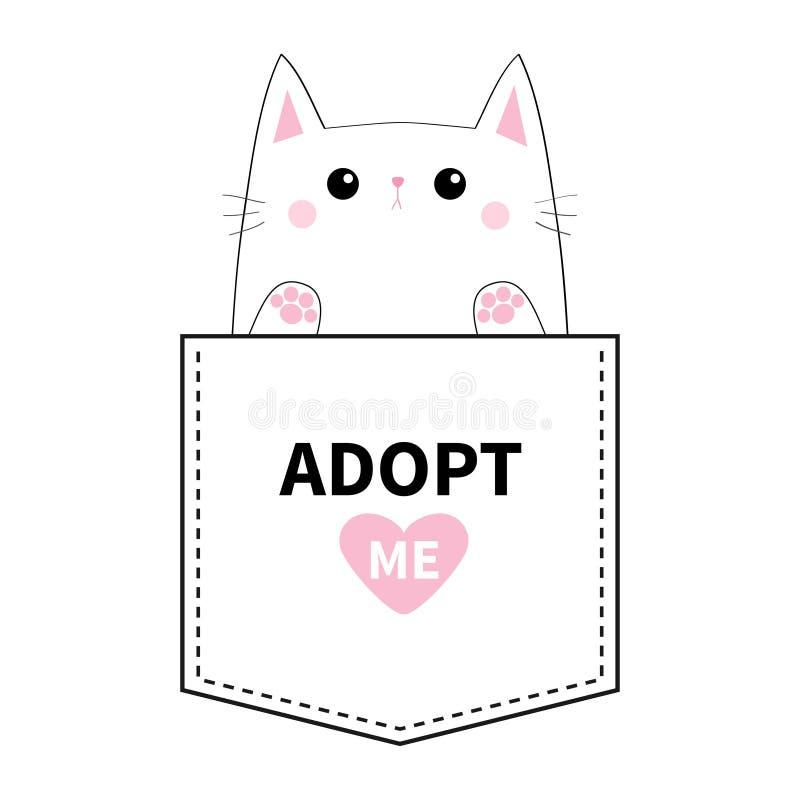 Adoptez-moi Chaton se reposant dans la poche Paw Print Coeur rose Animaux mignons de dessin animé Caractère de minou de chat Lign illustration stock
