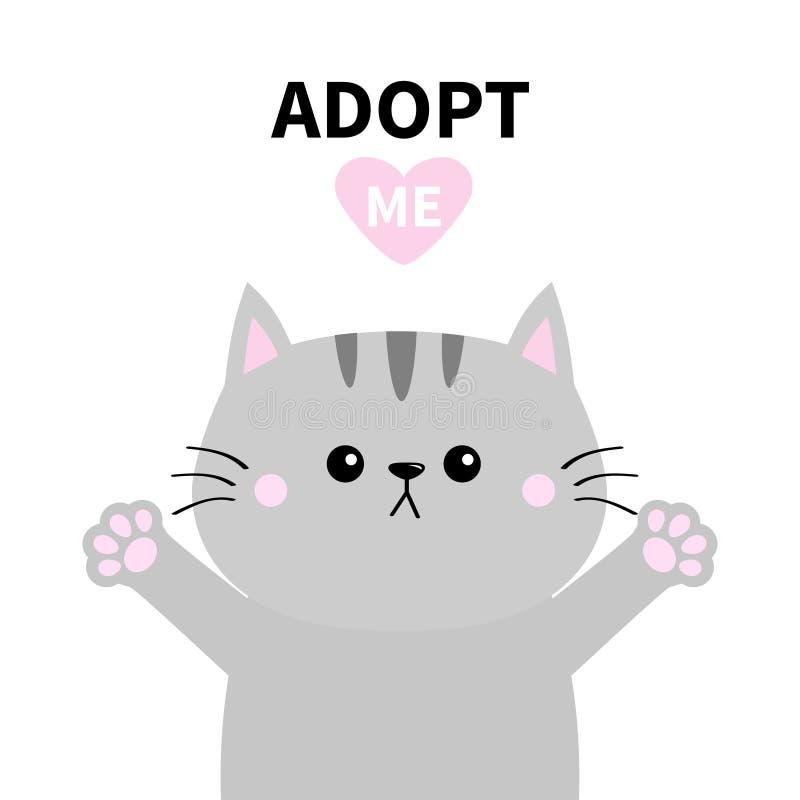 Adoptez-moi N'achetez pas Silhouette grise de chat Étreinte de main Paw Print Pink Heart Adoption d'animal familier Caractère mig illustration stock