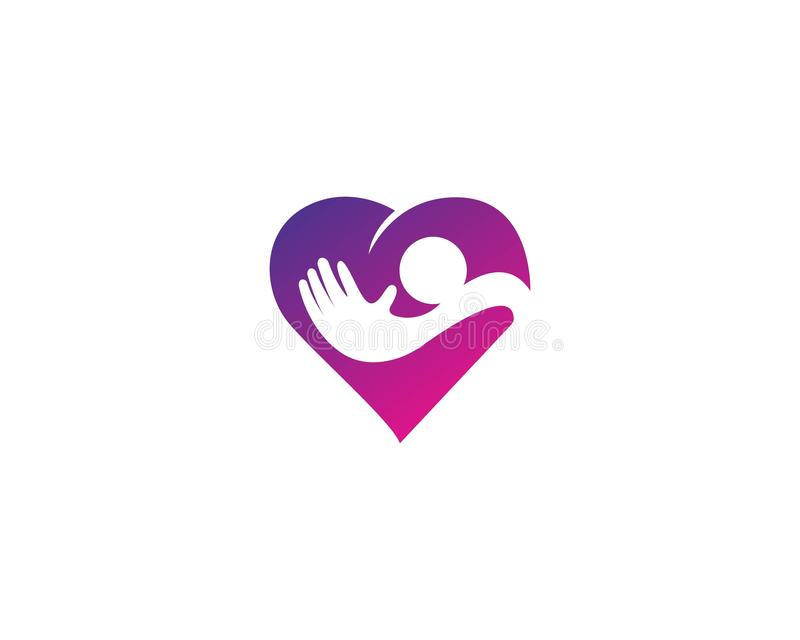 Adoption and community care, logo simple concept people heart icon stock illustration