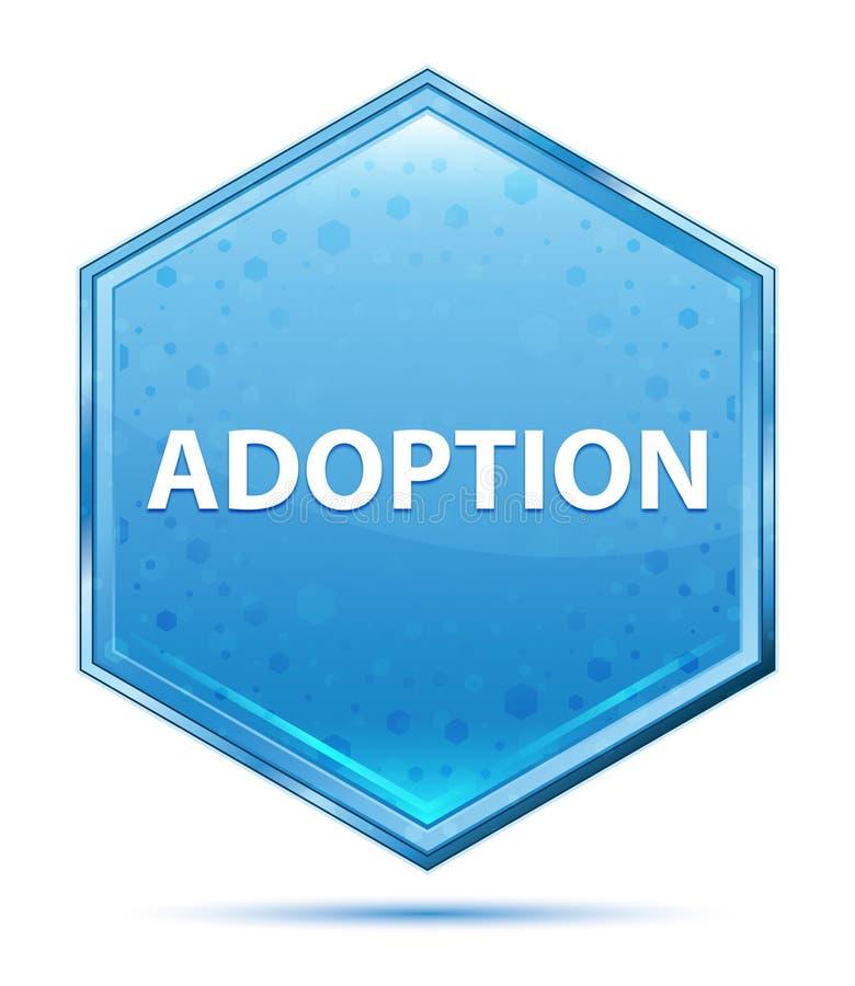 Adoption crystal blue hexagon button. Adoption Isolated on crystal blue hexagon button vector illustration