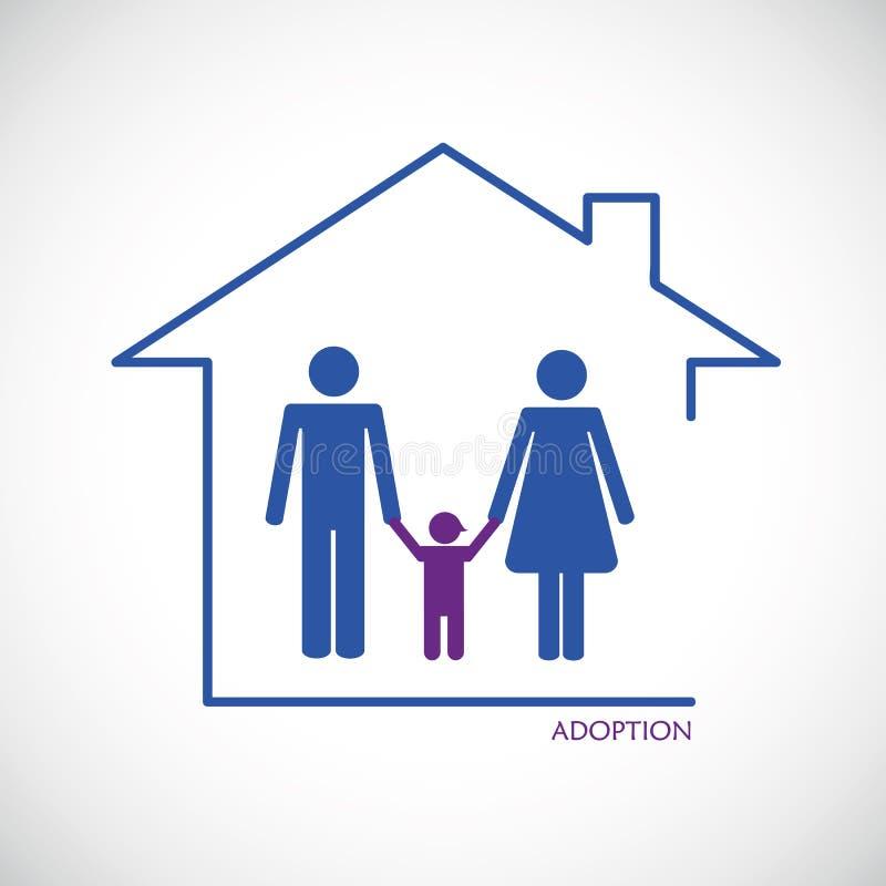 Adoption d'enfant d'homme et de femme illustration de vecteur