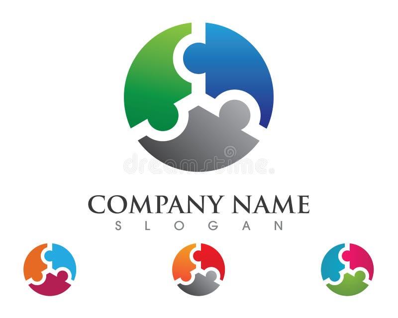 Adoption de puzzle et calibre de logo de soins de santé communautaires illustration stock