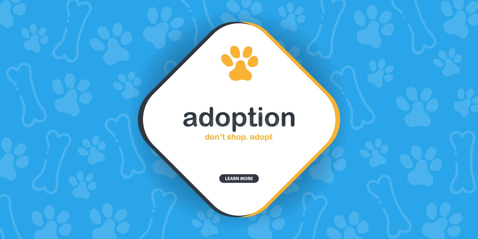 Adoption. Dont Shop Adopt. Banner with cat or dog paws. Hand draw doodle background. Adoption. Dont Shop Adopt. Banner with cat or dog paws. Hand draw doodle vector illustration