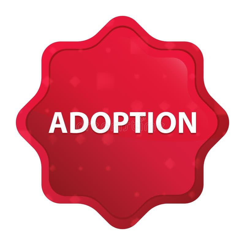 Adoption misty rose red starburst sticker button. Adoption Isolated on misty rose red starburst sticker button vector illustration