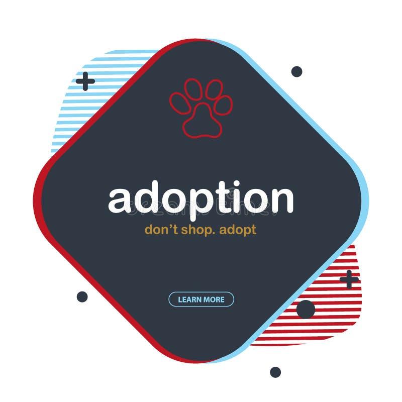 adoption N?o compre adotam Bandeira com as patas do gato ou do cão Fundo da garatuja da tra??o da m?o ilustração royalty free