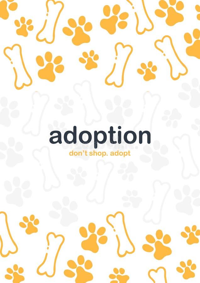 adoption N?o compre adotam Bandeira com as patas do gato ou do cão Fundo da garatuja da tra??o da m?o ilustração stock