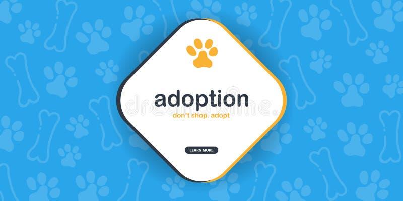 adoption N?o compre adotam Bandeira com as patas do gato ou do cão Fundo da garatuja da tra??o da m?o ilustração do vetor