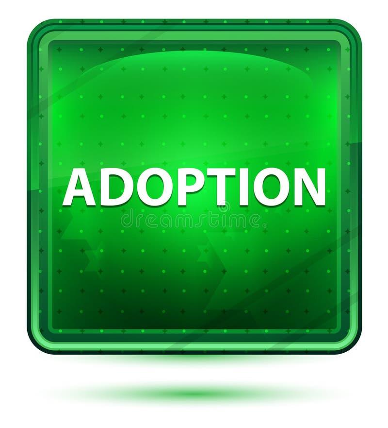 Adoption Neon Light Green Square Button. Adoption Isolated on Neon Light Green Square Button stock illustration