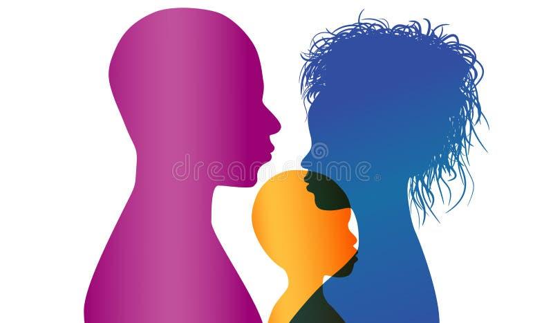 adoption Os pais africanos ou afro-americanos novos adotam uma criança africana ou afro-americano Silhueta do perfil da cor do ve ilustração do vetor