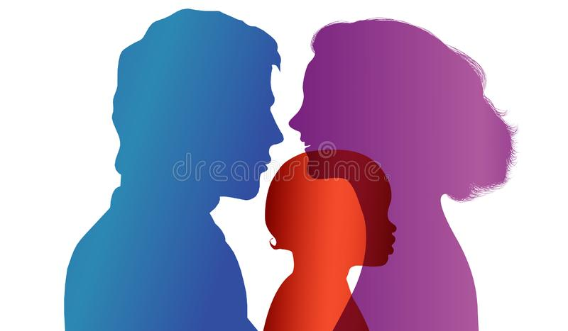 Adoption. Pair of parents adopt a child. Vector color profile silhouette. Concept of adoption with parents and child. Profiles silhouettes of father and mother vector illustration