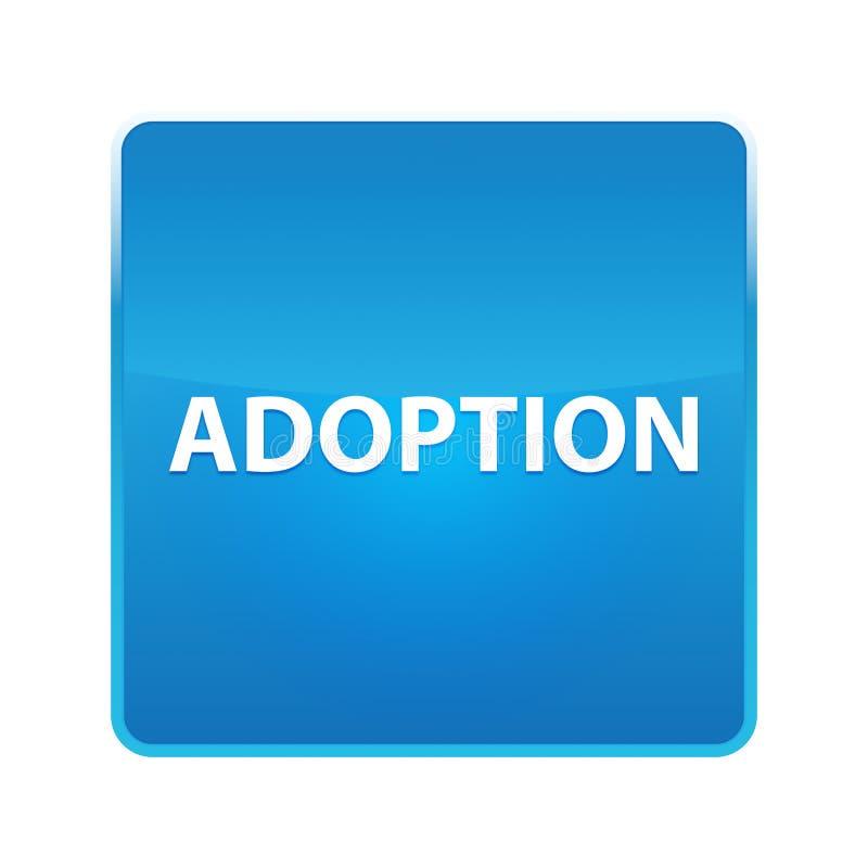 Adoption shiny blue square button. Adoption Isolated on shiny blue square button vector illustration