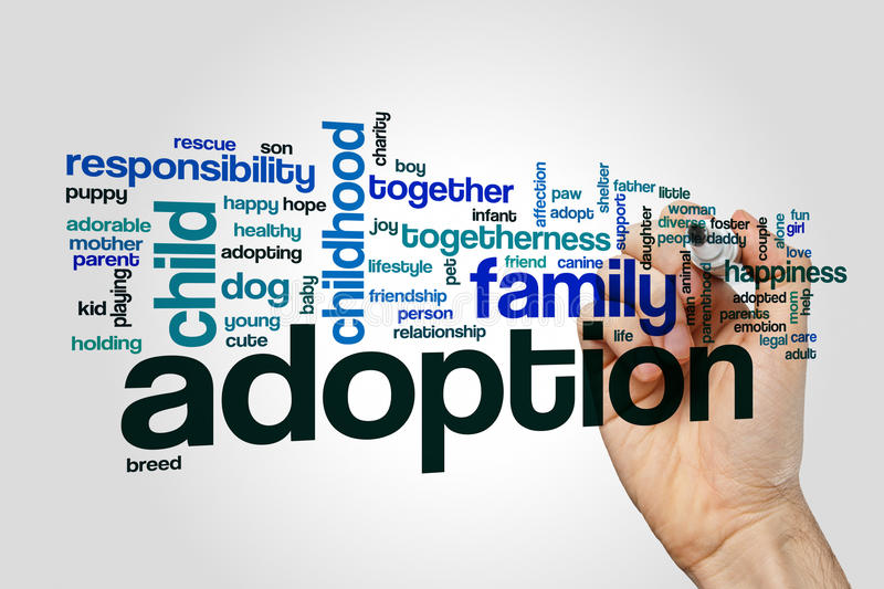 Download Adoption Word Cloud Concept On Grey Background Stock Image - Image of childhood, child: 88655607