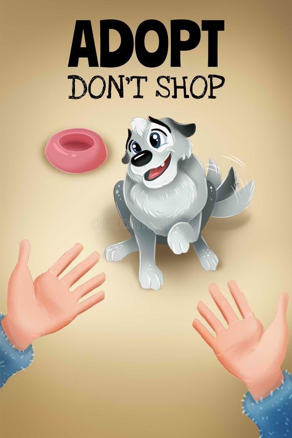 Adoptuj? no robi zakupy Plakat dla zwierzę domowe adopcji schronień royalty ilustracja