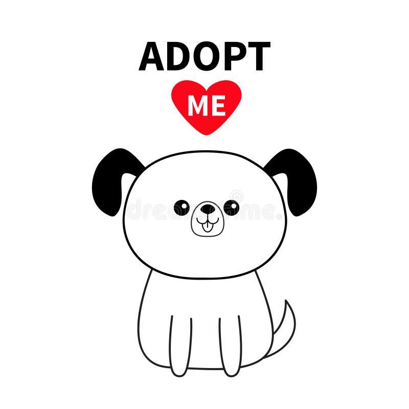 Adoptuje ja Konturowa obsiadanie psa sylwetka Czerwony serce Zwierzę domowe adopcja Kawaii zwierzę Śliczny kreskówka kundla chara royalty ilustracja