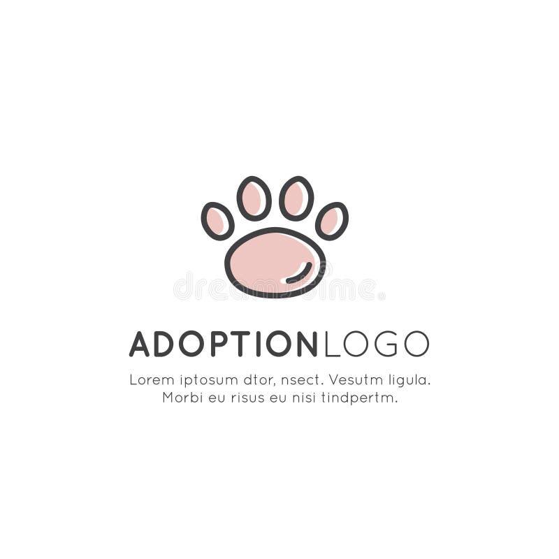 Adoptuje zwierzę domowe sztandar, nowy właściciel, zwierze domowy gospodarstwo rolne, hotel, Odizolowywający ilustracji