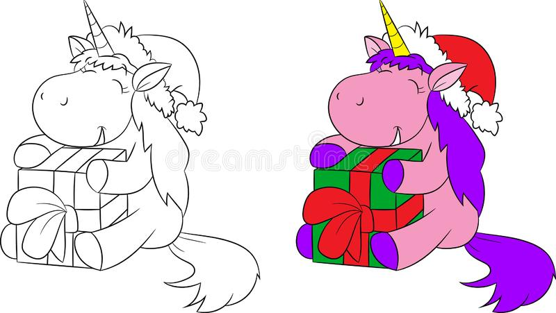 Adorável antes e depois da ilustração de um unicórnio pequeno bonito que guarda e que abraça um presente, para o livro para color ilustração royalty free