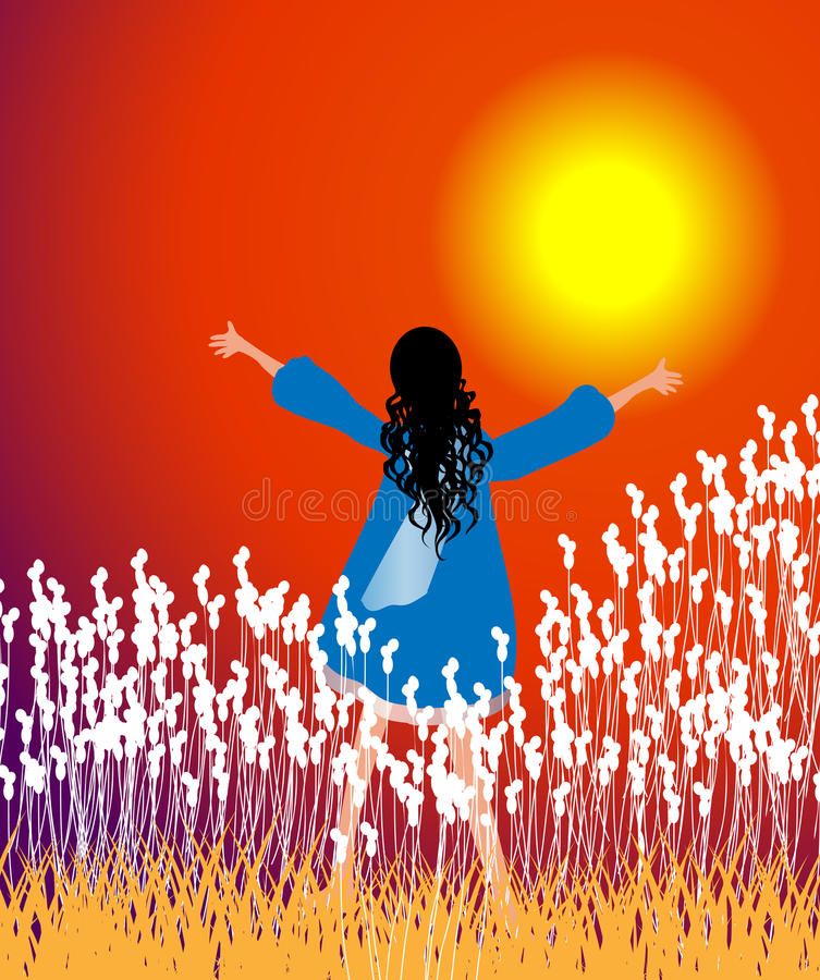 Adoração do por do sol ilustração do vetor