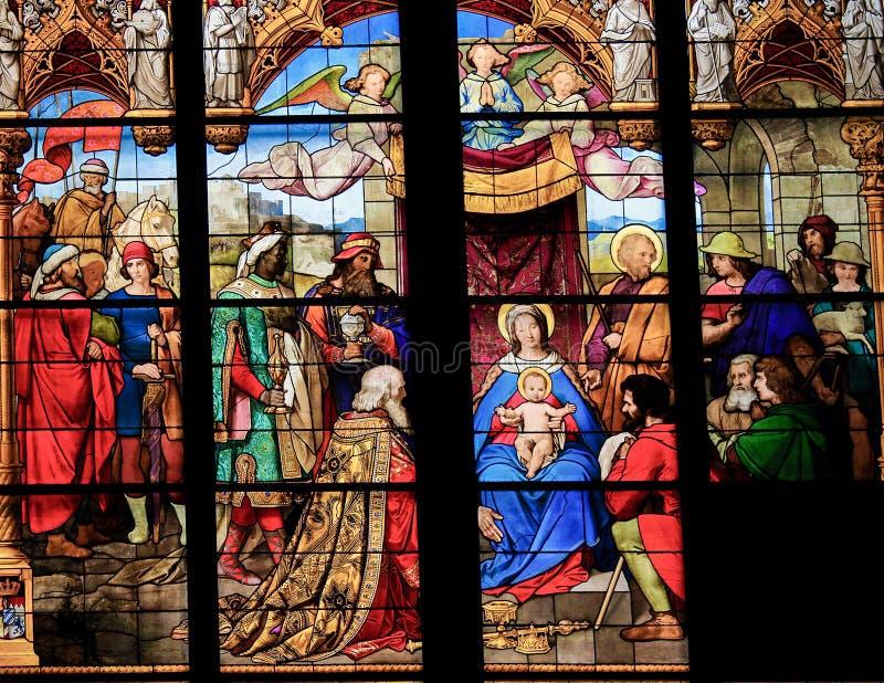 Adoração dos três Reis Magos & do x28; Epiphany& x29; - Vitral fotografia de stock royalty free